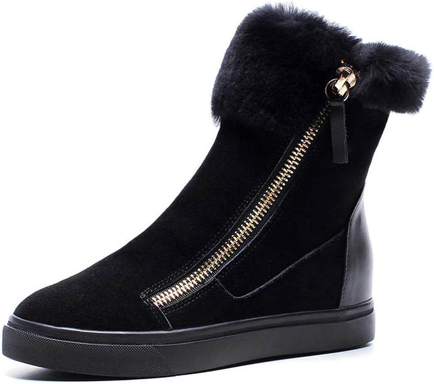 Womens shoes Winter Flat Heel Ankle Boots Ladies High-Top Zipper Warm Booties High-Top shoes for Fall Winter