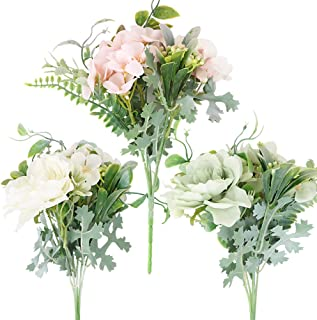 3 Bouquets de Fleurs Artificielles de Pivoine Camélia Fausses Fleurs en Tissu Soie Blanc Rose Vert Rétro Décoration Scrapb...
