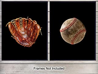 Baseball Glove and Ball Wall Art Print Poster Set - Great Inexpensive Gift for Men and Boys - Unique Home Decor for Kids Room, Man Cave, Office, Game or Family Room - (Set of Two) 8x10 Photos Unframed
