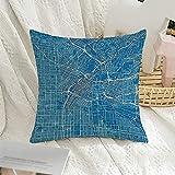 BONRI Funda de almohada cuadrada decorativa con capas azules y mapa de la ciudad, Los organizados en la calle, el distrito, el pozo, la Academia River Resumen de la almohada, 43 x 43 cm