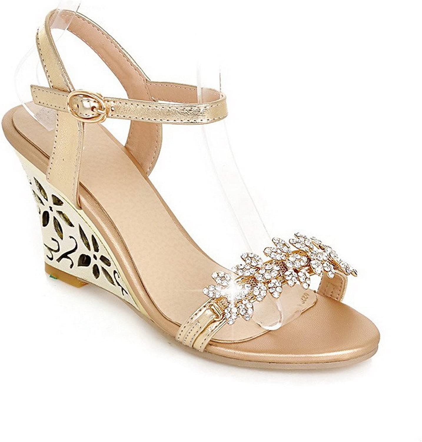 AmoonyFashion Women's Open Toe High Heel Wedge PU Soft Material Solid Sandals, gold, 7.5 B(M) US