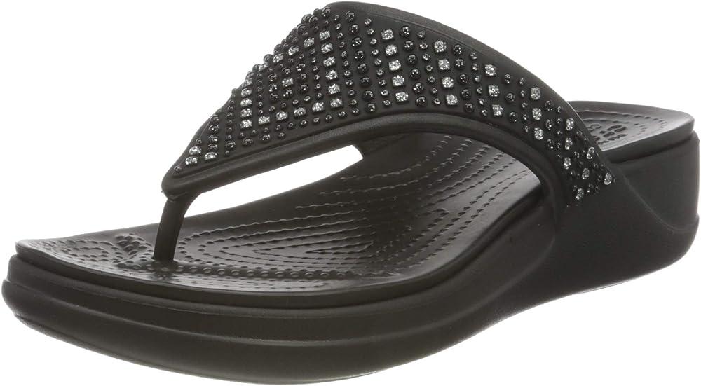 Crocs monterey shimmer wedge flip sandali con zeppa per donna 206343