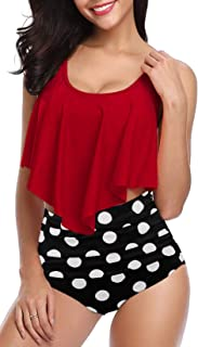 Best Womens High Waisted Swimsuit Ruffled Top Tummy Control Bathing Suits Review