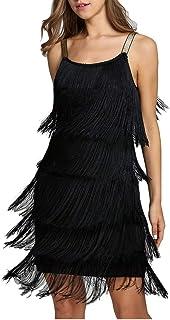 keland Vestido de Traje de Gatsby Vestido Flecos Ropa Fiesta Mujer Vestidos a?os 20