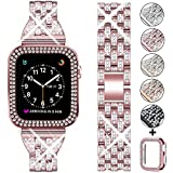 DSYTOM Compatible Apple Watch Band 44mm 42mm 38mm 40mm with Case Women,Rhinestone Metal Jewelry Wristband Strap with Bling PC Protective Case Replacement for iWatch Series 5 4 3 2 1(Rose Pink)