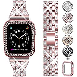 Rose Pink +Clear Rhinestone Metal Wristband Strap with Protective Case