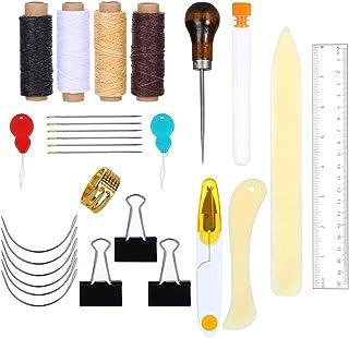 Siumir Outils de Reliure Kits Reliure à Coudre Fournitures Règle Aiguilles à Gros Yeux Enfile-aiguille Aiguille courbée Fi...