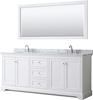 Wyndham Collection Avery 80 Inch Double Bathroom Vanity in White, White Carrara Marble Countertop, Undermount Oval Sinks, and 70 Inch Mirror