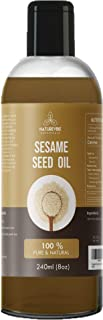 Naturevibe Botanicals Sesame seed oil, 8oz (240ml) | 100% Pure and Natural | Cold Pressed and Unrefined | Massage oil | Used for cooking