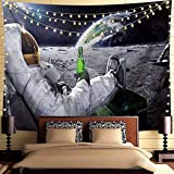 Trippy Astronaut Tapestry Galaxy Space Wall Hanging Tapestry Cool Spaceman with Beer Sitting on Universe Outer Space Planet Tapestry Funny Tapestry Bohemian Hippie Tapestry For Mens Bedroom Cool Room Decor (59'L*51'W)
