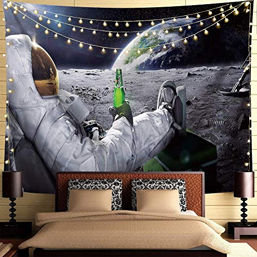Trippy Astronaut Tapestry Space Tapestry Poster Cool Spaceman with Beer Sitting on Universe Outer Space Planet Tapestry Funny Tapestry Boho Hippie Tapestry For Mens Bedroom Cool Room Decor.59x51Inch