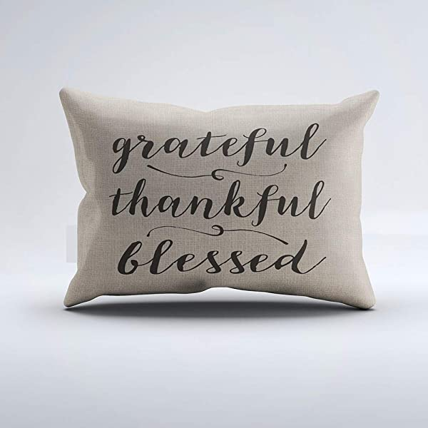Zippered Pillow Covers Pillowcases One Side 12x24 Inch Grateful Thankful Blessed Rustic Script Damask Pillow Cases Cushion Cover For Home Sofa Bedding