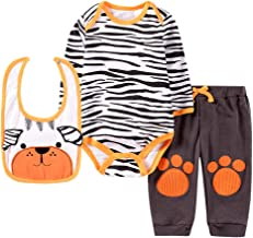 Baby Boy Outfits Newborn Toddler Bibs+Striped Romper Bodysuit+Cartoon Printed Pants 3PCs Cute Animal Outfits Set
