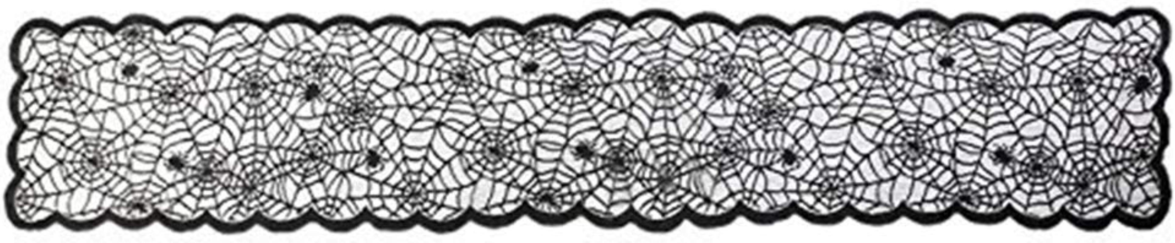 Discountstore145 Halloween Table Runner Halloween Create The Ambience Props Lace Spider Web Table Runner Cloth Cover For Halloween Eve Decor Home Decoration Black