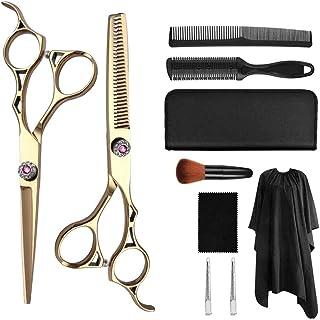 Professional Hair Cutting Scissors Barber Scissors Kit, Hair Thinning Shears Set, Japanese 440C Stainless Steel Hairdressi...