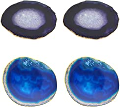 Jewelry مجوهرات 4 Pieces Naturally Purple +Blue Agate Irregular Decorated With Golden Edge Quartz Slice Crystal Coaster Jewelry Making Accessories Approx 60 To 80mm جواهر سازی