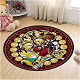 Round Rug Kid's Room Cartoon Floor Carpet Heart of The Kingdom- Glass Door Anti-Skid Mat Round Soft Computeer Chair Rug ( Color : Kingdom Hearts 03 , Size : Diameter 120cm )