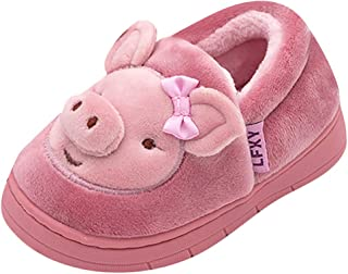 Family Women Kids Cute Slippers Round Toe Winter Warm Soft Comfortable Anti-Slip Indoor Home Shoes for Girl Boy