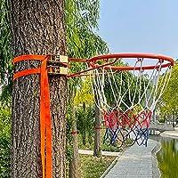 """バスケットゴール 調節可能なストラップ付きバスケットボールリム屋外ウォールマウント - 幼児、女の子、男の子、子供、大人のための小さなハンギングバスケットボールフープと目標 (Color : Orange, Size : Diameter 45cm(17.7""""))"""