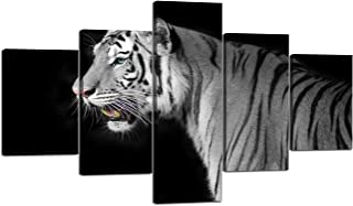 Tiger Pictures for Wall Posters HD Printed Black White Tiger Animal Pictures Painting Canvas Tiger Wall Art Framed Stretched Ready to Hang Modern Home Decor for Living Room 5 Piece(60'' W x 32''H)