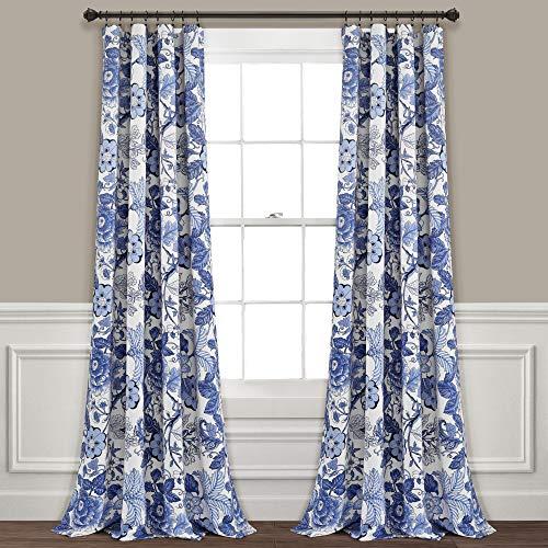 Lush Decor Sydney Vorhänge, Marineblau und Weiß, verdunkelnd, für Wohnzimmer, Esszimmer, Schlafzimmer, 213 cm...