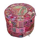 DK Homewares Ottomane Pouf Rotondo Etnico Pouf in Cotone Ricamato Patchwork Rosa Pouf Deco...