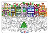 "Giant Christmas themed coloring poster measuring 32.5"" x 22"" inches in size Super bright white, heavy pound paper Individually wrapped & rolled - Arrives in RIGID reusable mailing tube - Counter-roll the design on arrival to lay flat. One-of-a-kind w..."