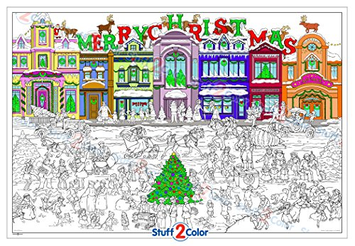 Christmas Is Coming - Giant Wall Size Coloring Poster - 32.5' X 22' (Great for Family Time, Adults, Kids, Classrooms, Care Facilities and Holiday Gatherings)