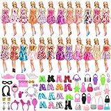 Miunana 75 Kleidung und Zubehör für Barbie Puppen = 15 Kleider + 40 Accessoires + 10 Schuhe + 10...