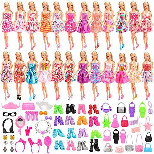 Miunana 75 Kleidung und Zubehör für Barbie Puppen = 15 Kleider + 40 Accessoires + 10 Schuhe + 10 Handtasche