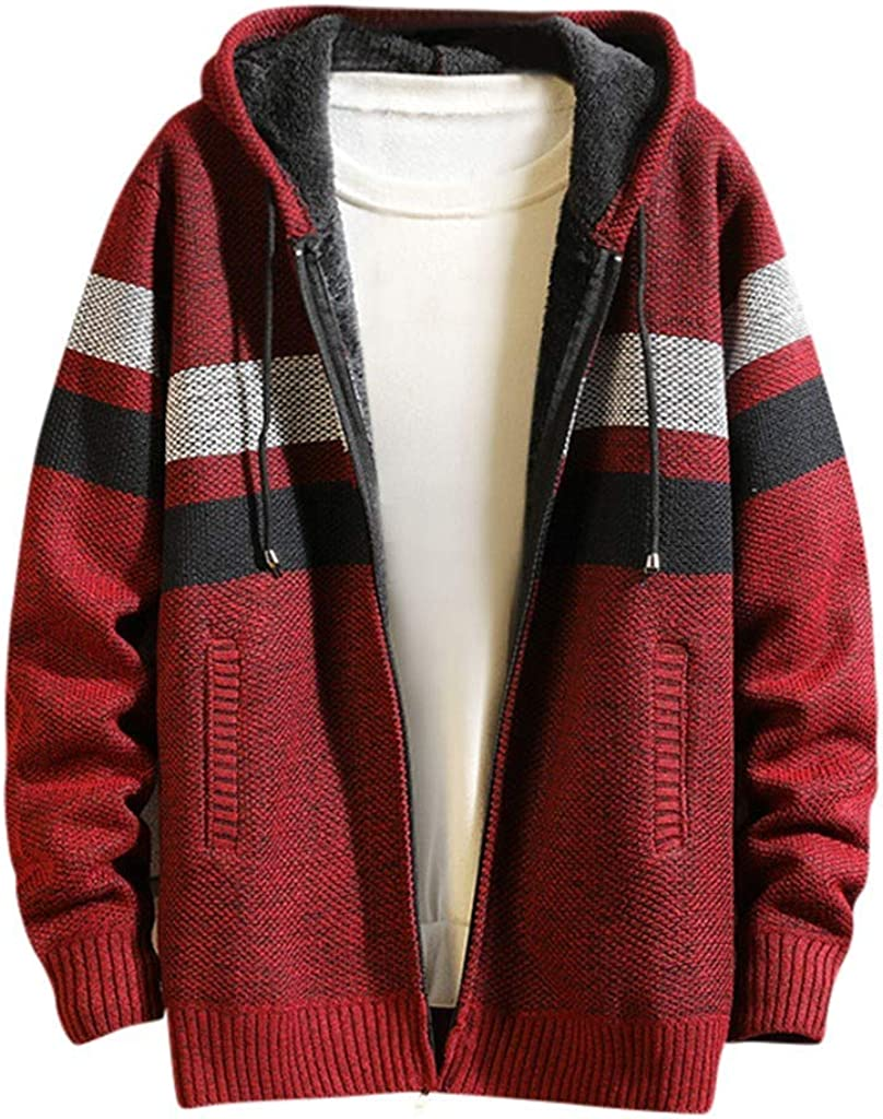 Stoota Men's Chunky Zipper UP Mid-Length Knitted Cardigan Sweater, Casual Patchwork Design Mid Weight Hooded Coat M-3XL
