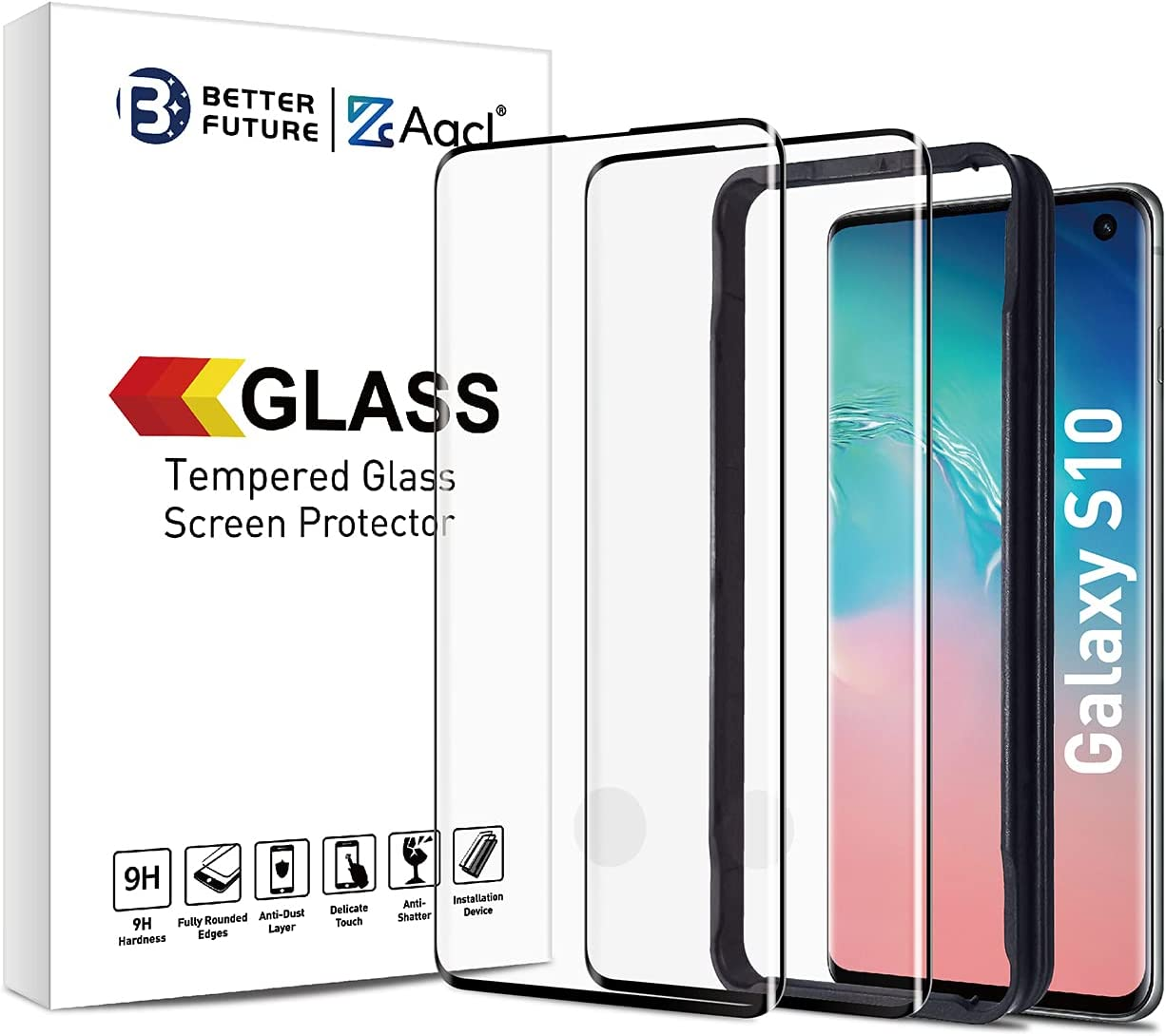 Glass Screen Protector for Samsung Galaxy S10,6.1-Inch,2 Pack,Curved Tempered Glass,Compatible with Ultrasonic Fingerprint Scanner,Black