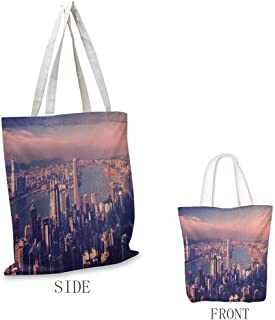 City Shopping bags can be reused Dreamy View of Chinese City Hong Kong Urban Scene Concept Victoria Harbor Used as a grocery bag in the market W15.75 x L13.78 Inch Pale Pink Night Blue