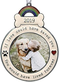 BANBERRY DESIGNS Dog Memorial Ornament - 2019 Dated Christmas Keepsake Picture Holder - If Love Could Have Saved You - Paw Prints and Hearts