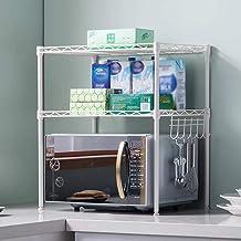 JYGZJZ MIAKA Home Estante para Horno microondas de 2 Capas/Rejilla de Cocina/Rejilla de baño/Rejilla para condimentos/Rejilla de Almacenamiento (Color: Gris Plateado)
