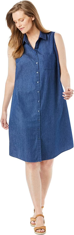 Woman Within Women's Plus Size Sleeveless Shirtdress
