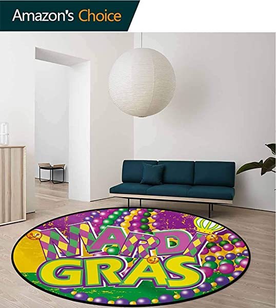 Mardi Gras Modern Machine Washable Round Bath Mat Grunge Background With Colors Vivid Beads Vintage Letters Joyful Print Non Slip Living Room Soft Floor Mat Diameter 24 Inch