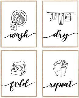 Wash Dry Fold Repeat Print, Laundry Room Décor Poster, Black and White Set of 4 Farmhouse Sign Art 8x10 Unframed