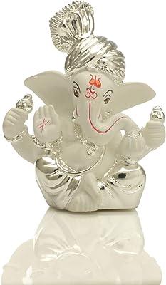 Collectible India Ceramic Silver Plated Terracotta Pagdi Ganesha Statue (8x6cm, Silver)