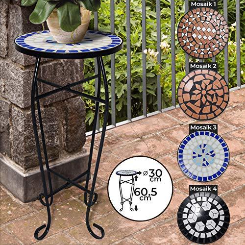 Mosaik Blumenständer - aus Metall und Keramik, max. 25 kg, Ø 30 cm, 60,5 cm hoch, Farbwahl - Pflanzenständer, Blumentopfständer, Beistelltisch, Blumenhocker, Topfgestell, Gartentisch, Balkontisch