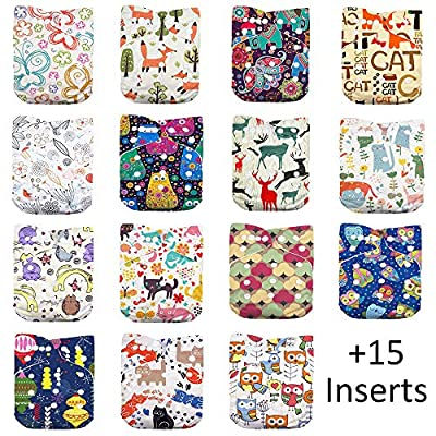DoDo Bear Baby Cloth Diapers,One Size Adjustable Reusable Pocket Cloth Diaper 15pcs Diapers+15pcs Charcoal Bamboo Inserts+One Wet Bag, (color1)