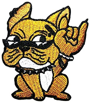 Funny Bulldog Punk Rock Cute Dog Embroidery Patches Children Kid Patch Appliques Fabric Decorating for Hat Cap Polo Backpack Clothing Jacket T-Shirt DIY Embroidered Iron On/Sew On Patch