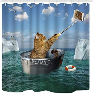 SZZWY Pets can take Pictures of Themselves on The sea Near The Iceberg. The wash Basin Pattern decorates The Room The Home Washable Shower Curtain is Suitable for Bathroom Bathroom Hotel Curtains.