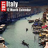Mini Calendar 2021 Italy: Beautiful Italy Photos Monthly Small Calendar With Inspirational Quotes each Month