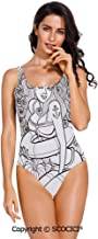 SCOCICI Swimsuit Bikini Tattoo Coloring Book Style Pin Up Girl with Hibiscus Fl