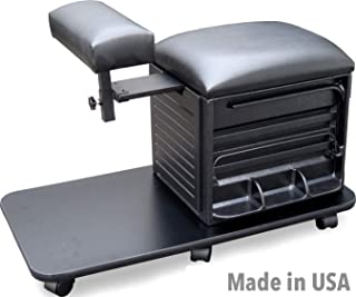 2317-SHF Pedicure Nail Station Stool Black Salon & spa w/Footrest Made in USA by Dina Meri