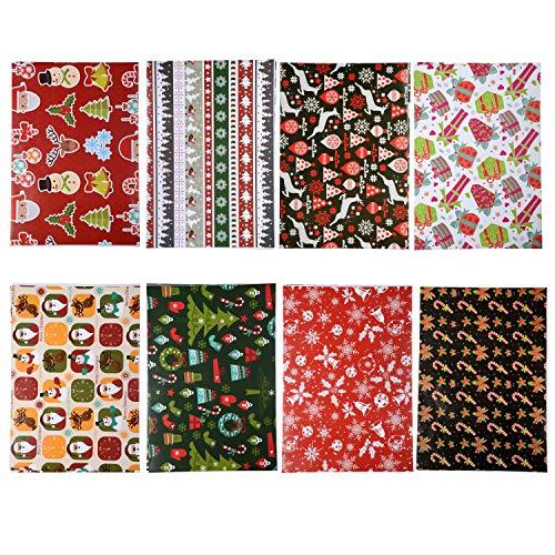Pobuu Carta da regalo natalizia - 74x52cm - 8 fogli di carta regalo natalizia include Babbo Natale, pupazzo di neve, fiocco di neve, albero di Natale, carta da imballaggio regalo renna per Natale