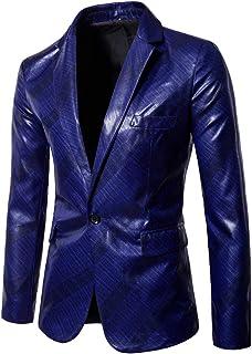 Men's Fashion Slim Fit Casual One Button Blazer Jacket Suits Leather Jacket Long Sleeve Pure Color Coat Goosun Soft Leathe...