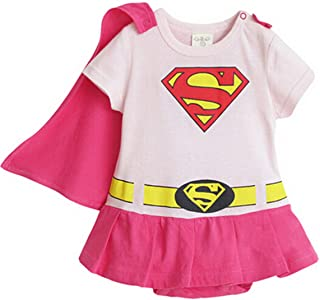 pink supergirl baby grow