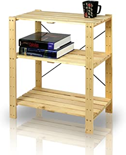 Furinno Pine Solid Wood 3-Tier Shelf